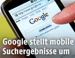 Google Suchemaske auf einem Mobiltelefon
