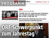 Screenshot der Programmseite des ORF mit Schwerpunkt zum 70. Jahrestag der Gründung der Zweiten Republik