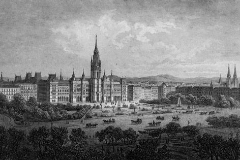 Das Neue Rathaus in Wien (Stahlstich von J.Riegel)