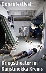Installation am Donaufestival von Claudia Bosse (theatercombinat)