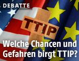 """Flagge von USA und EU und ein Pflaster mit der Aufschrifft """"TTIP"""""""