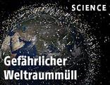 Darstellung des Weltraummülls im All