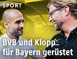 Pep Guardiola (Bayern-Coach) und Jürgen Klopp (BVB-Trainer)