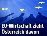 EU-Fahne und Schatten von Personen