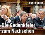 Nationalratspräsidentin Doris Bures, Gedenkrednerin Christine Nöstlinger und Bundeskanzler Werner Faymann