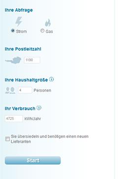 Tarifkalkulator der Webseite e-control.at