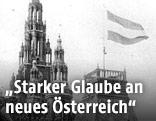 Die österreichische Nationalflagge wird am Wiener Rathaus gehisst