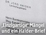 Brieg von Jörg Haider an Karl-Heinz Grasser