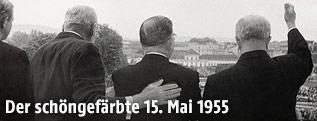 Leopold Figl am Balkon des Schloss Belvedere mit dem Rücken zur Kamera, 15.5.1955