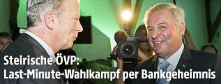 ÖVP-Bundesparteiobmann und Vizekanzler Reinhold Mitterlehner und der Landeshauptmann-Stellvertreter der Steiermark, Hermann Schützenhöfer