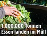 Salat wird in Biomüll geworfen
