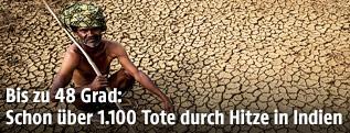Indischer Bauer auf einem vertrockneten Feld