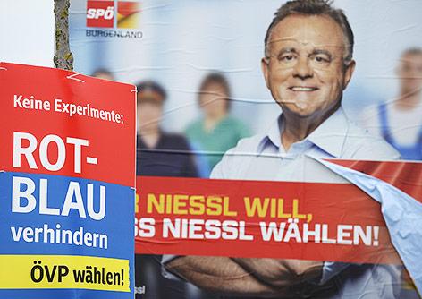 Wahlplakte der ÖVP und der SPÖ in Eisenstadt