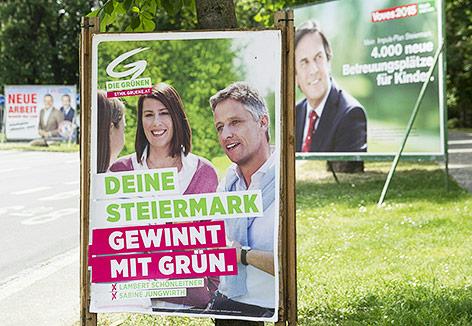 Wahlplakate der Grünen, SPÖ und FPÖ in Graz