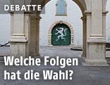 Wappen der Steiermark auf einem Tor im Landhaus