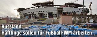 Baufälliges Fußballstadion in Rußland