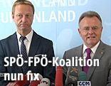 Der burgenländische FPÖ-Landesparteiobmann Johann Tschürtz und Burgenlands Landeshauptmann Hans Niessl (SPÖ)