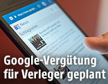 Handy mit Google-News-Website