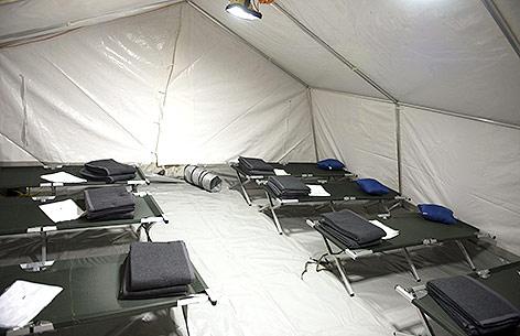 Flüchtlingszelt in Linz