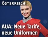 Eine AUA-Mitarbeiterin mit neuer Uniform