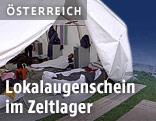 Blick in ein Flüchtlingszelt