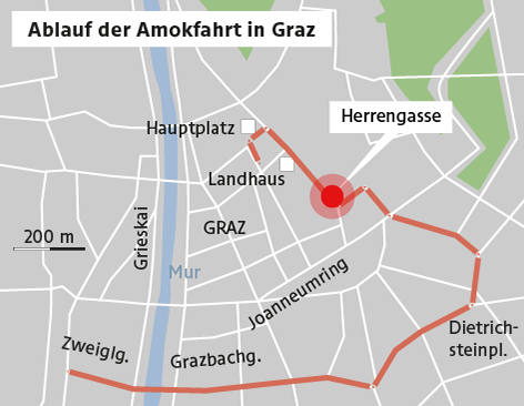 Karte zur Amokfahrt in Graz