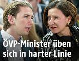 Außenminister Sebastian Kurz und Innenministerin Mikl-Leitner