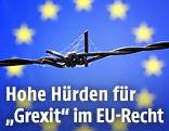 Stacheldraht vor EU-Fahne
