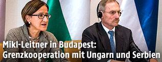 Innenministerin Johanna Mikl-Leitner und Ungarns Innenminister Sandor Pinter
