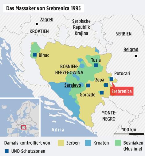 Karte zeigt das Massaker von Srebrenica