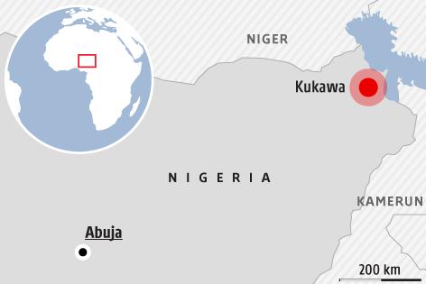 Karte zeigt Kukawa in Nigeria