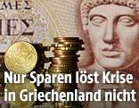 Euro-Münzen vor griechischer Drachme