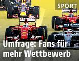Formel-1-Boliden kurz nach dem Start