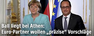 Die deutsche Kanzlerin Angela Merkel und der französische Präsident Francois Hollande