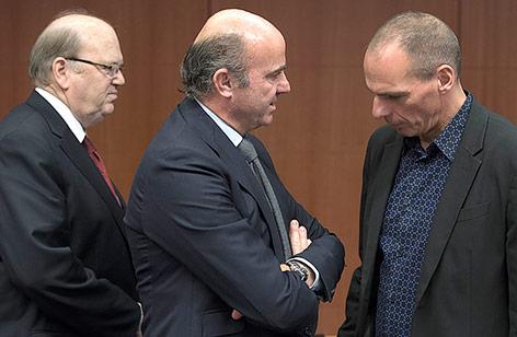Irischer Finanzminister Noonan, spanischer Wirtschaftsminister de Guindos und ehemaliger griechischer Finanzminister Varoufakis