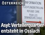 """Schild mit der Aufschrift """"Flüchtlingsbetreueung"""""""