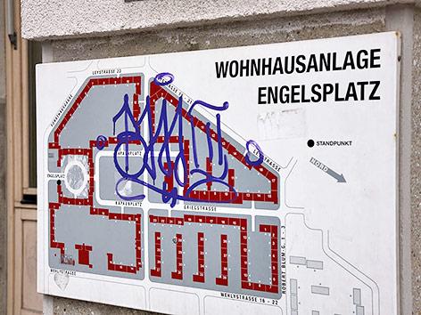 Plan der Wohnhausanlage Engelsplatz