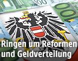 Bundesadler umgeben von Euroscheinen