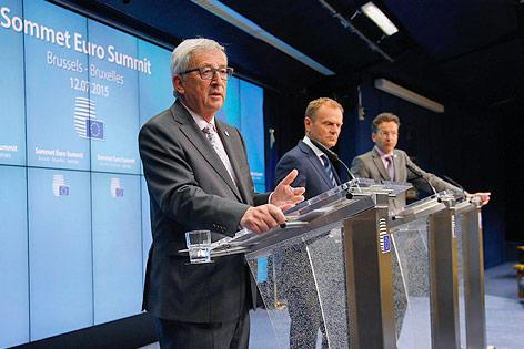 EU-Kommissionspräsident Jean-Claude Juncke, EU-Ratsvorsitzender Donald Tusk und Eurogruppen-Chef Jeroen Dijsselbloem
