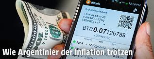 Bitcoin App mit Umrechungskurs