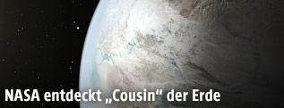 Rendering zeigt die Erde und den Planeten Kepler-452b