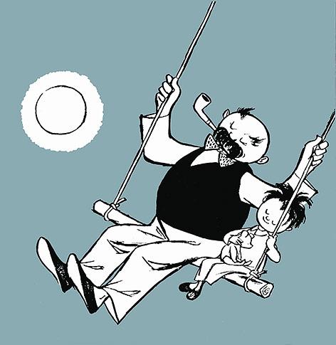 Illustration zeigt einen Vater mit Sohn auf einer Schaukel