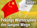 Chinesische Flagge und Flagge der Olympischen Spiele