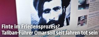 Computerbildschirm zeigt ein Archivbild von Mullah Mohammed Omar