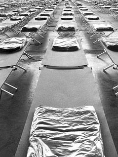 Tausende Betten in einem Großauffanglager in einer der größten Hallen des Wiener Messegeländes