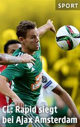 Michell Dijks (Ajax) und Louis Schaub (Rapid)