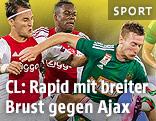 Nemanja Gudelj und Kenny Tete (beide Ajax) gegen Robert Beric (Rapid)