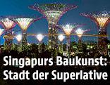 Beleuchtete Riesenbaumskulpuren in den Gardens by the Bay in Singapur