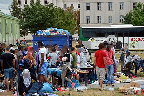 Flüchtlinge in der Bundesbetreuungsstelle Traiskirchen am 29. Juli 2015