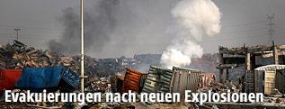 Zerstörtes Areal der Explosion